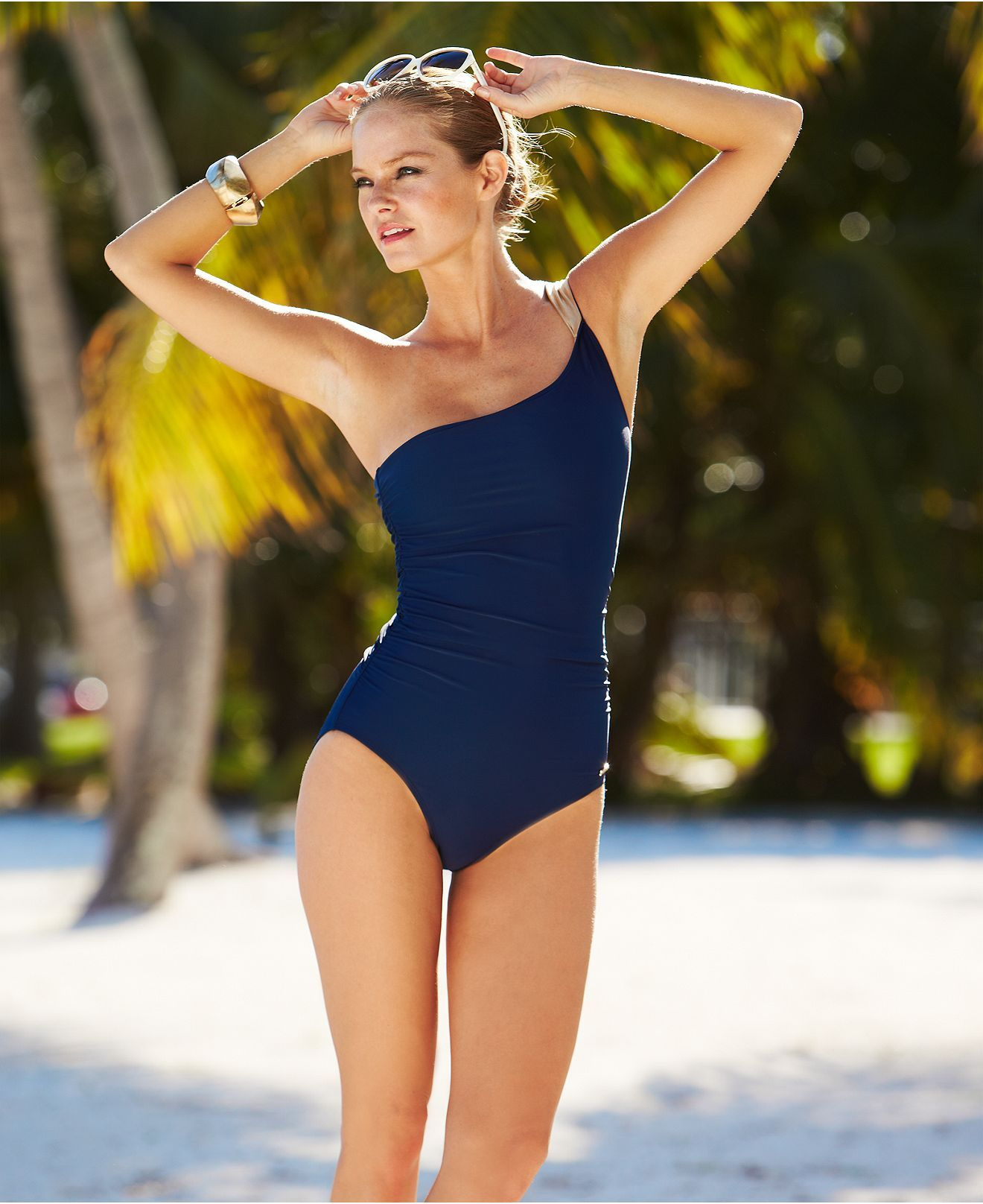 Vince Camuto Swimsuit One Shoulder Ruched One Piece Womens Swimwear Macy S Swimsuits Swimwear One Piece