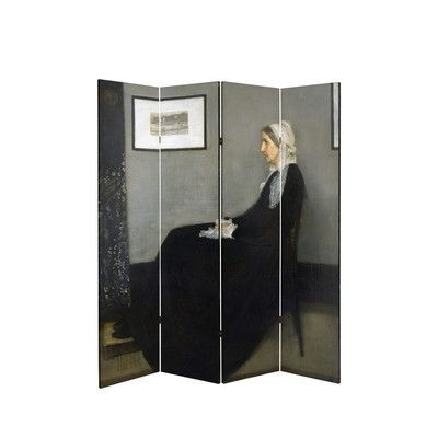 "Oriental Furniture 71"" x 51.66"" Tall Double Sided Works of Whistler Canvas 4 Panel Room Divider"