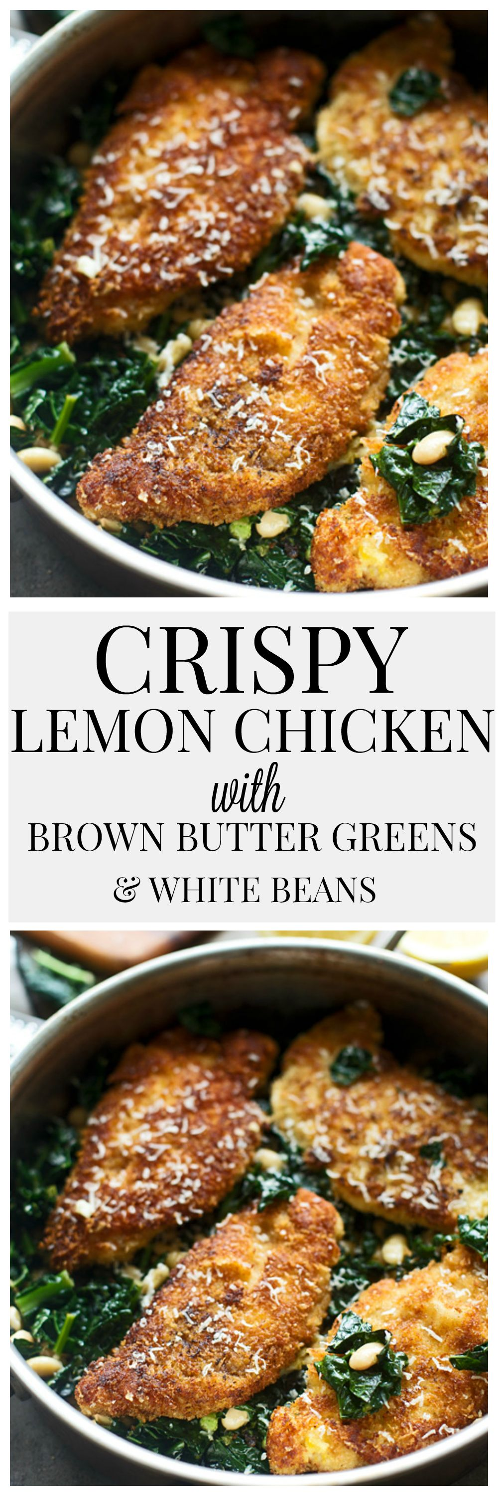 Crispy Lemon Chicken with Brown Butter Greens and White Beans