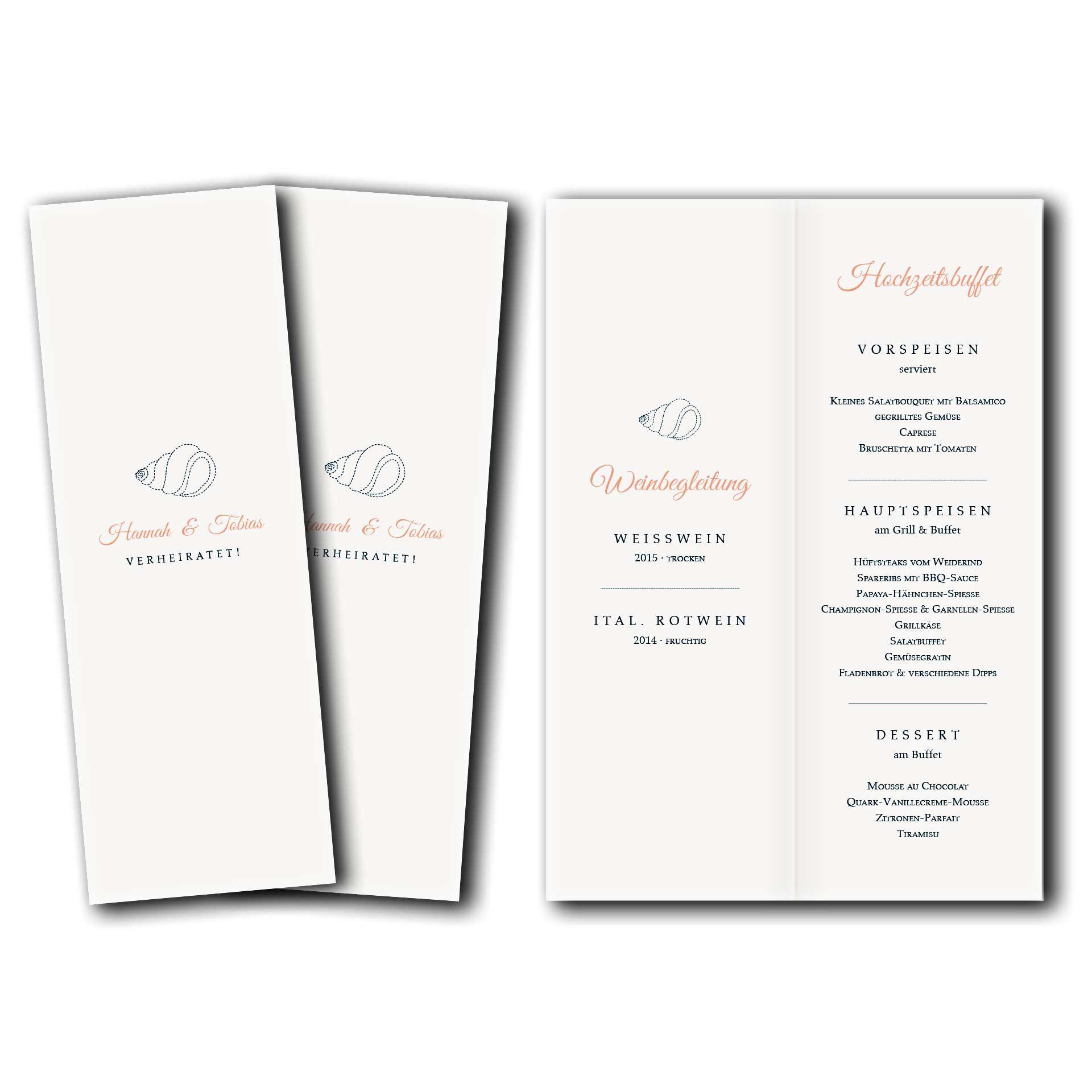 Hochzeitskarten Menukarte Kartendesign Muschelsucher