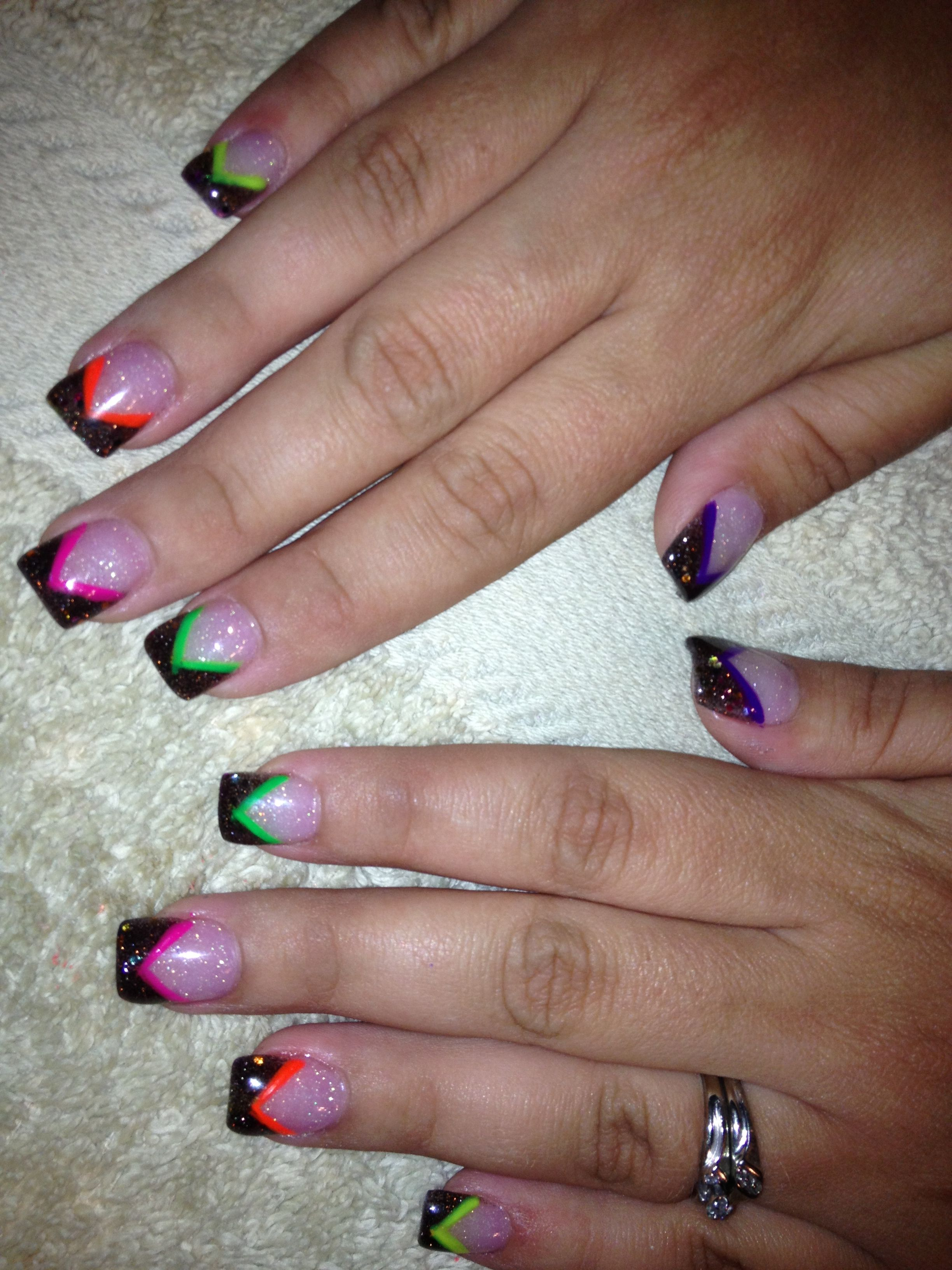 Color acrylics with cut out v-French nail | Sara\'s nail designs ...
