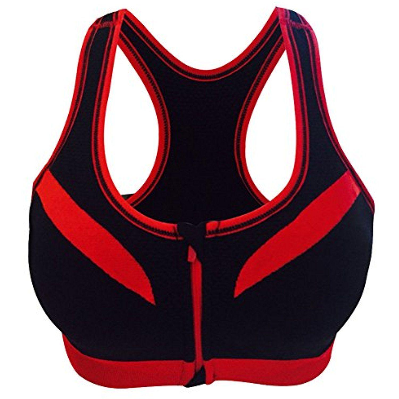 Womens Double Zipper Wireless Workout Racerback Bra Front