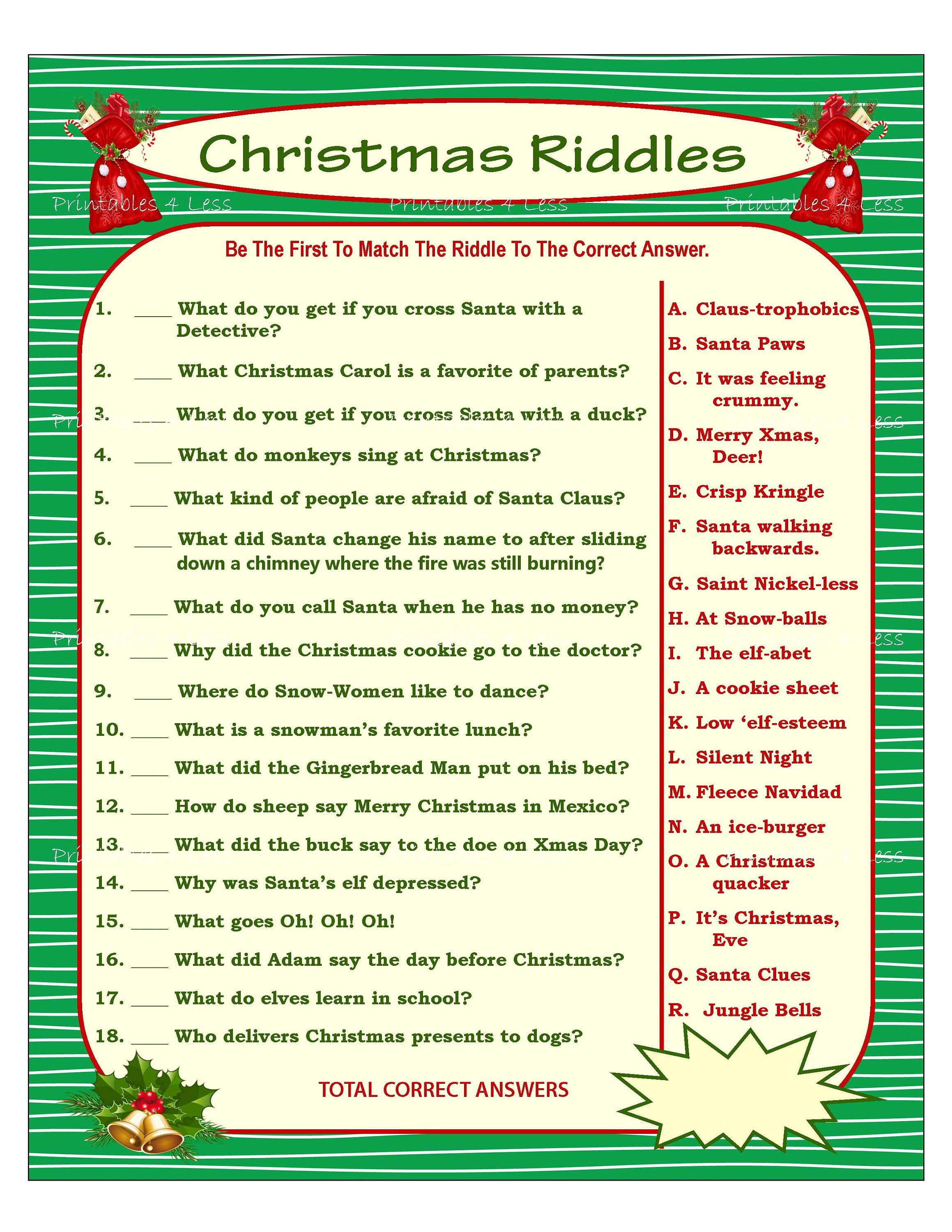 graphic regarding Printable Christmas Games With Answers named Xmas Riddle Activity, Do it yourself Holiday vacation Social gathering Sport, Printable