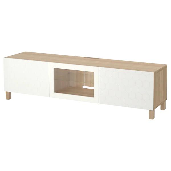 Besta Tv Bench With Drawers And Door White Stained Oak Effect Vassviken Stubbarp White Clear Glass Ikea Bench With Drawers Tv Bench Ikea