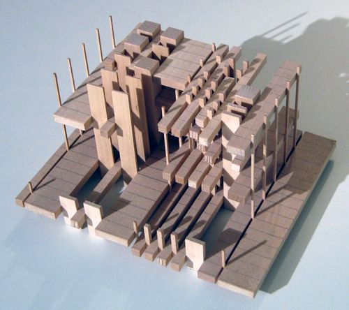 Architectural concept model for a center for poetry. The concept was inspired by the form of the sonnet