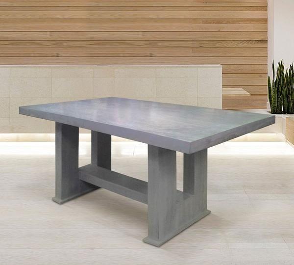Mesa para comedor vintage gris fabricada en madera 100 for Muebles de madera color gris