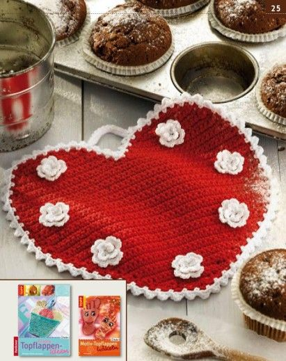 Red Heart Potholder Decorated With White Flowers