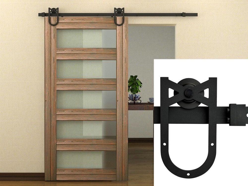 High Quality HD HS # Powder Coated Steel Horseshoe Style Modern Barn Wood Sliding Door  Hardware Track Kit For Storage, Laundry, Master Room, Walk In Closet, ...