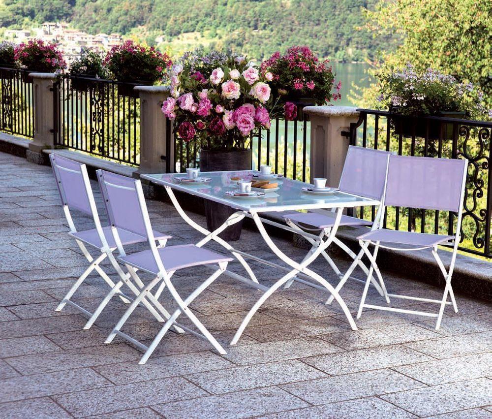 Set giardino tavolo 4 sedie in ferro e textilene per for Set giardino esterno