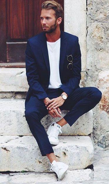 Comment porter un costume avec des baskets: conseils et photos pour vous inspirer   – Look Social Masculino