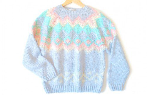 Shop Now! Ugly Sweaters: Thick Fluffy Soft Vintage 80s Pastel Acrylic Ugly Ski Sweater Women's Size Large (L) $18 - The Ugly Sweater Shop on Wanelo