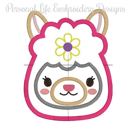 Llama Face Girl Animal Machine Embroidery Design Digital Applique ...
