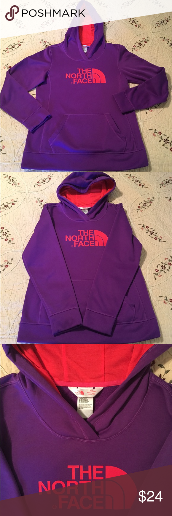 The North Face hoodie M fleece inside. The North Face fitted pullover hoodie with kangaroo pocket and secret media storage pocket inside of it. Polyester outer with inside Fleece lined and contrasting hood. Will fit S/M great condition. Smoke free/pet free home. The North Face Tops Sweatshirts & Hoodies