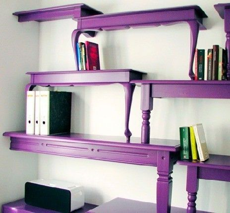 Purple wall shelves made of wooden tables