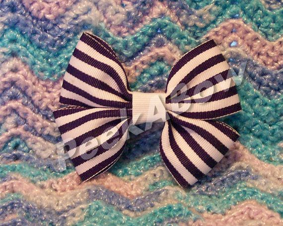Purple and White Striped basic hair bow by PeekABowBows on Etsy, $3.00