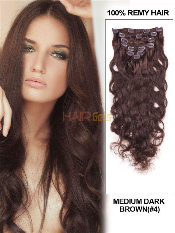 Medium Brown4 Deluxe Body Wave Clip In Human Hair Extensions 7