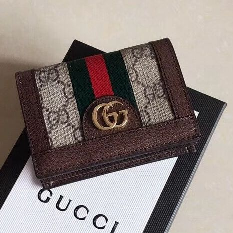 19b0c4cfdd8f Gucci Ophidia GG Card Case 523155 Brown 2018 Gucci Wallet, Purse Wallet,  Gucci 2018