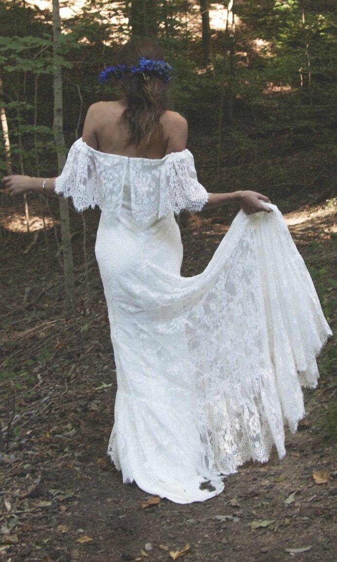 Off The Shoulder Wedding Dress Lace Bridal- \