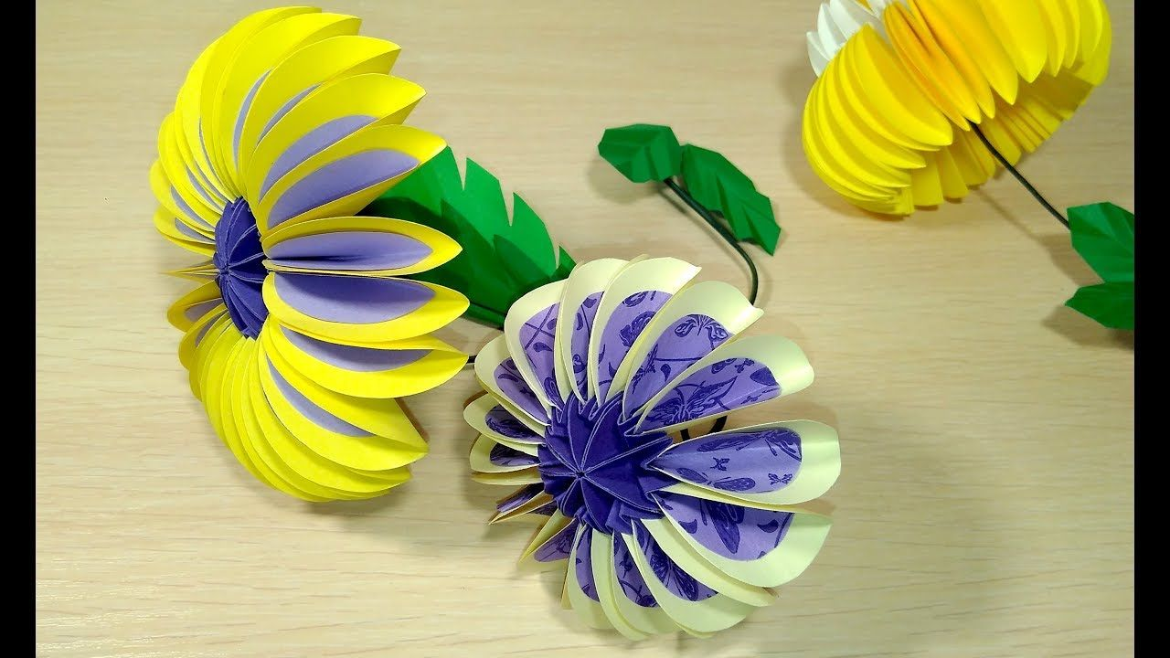 Paper Flower From Circles In Origami Style Origami Instructions