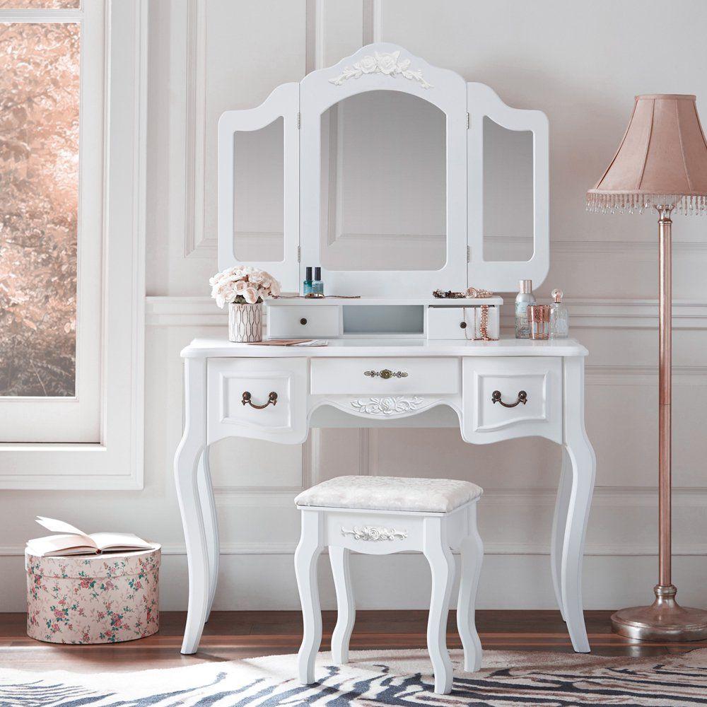 Zimtown Tri Folding White Vanity Makeup Dressing Table Set W Stool 5 Drawer Mirror Wood Desk White Walmart Com White Vanity Makeup Dressing Table Vanity Table Set [ 1000 x 1000 Pixel ]