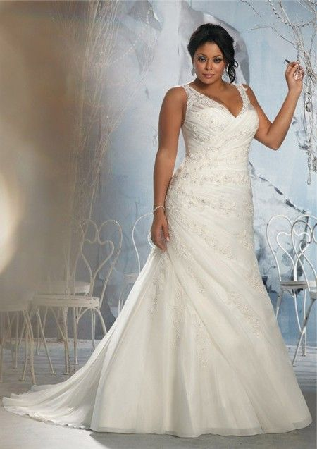 A Line V Neck Sheer Straps Ruched Organza Lace Plus Size Wedding Dress With Buttons