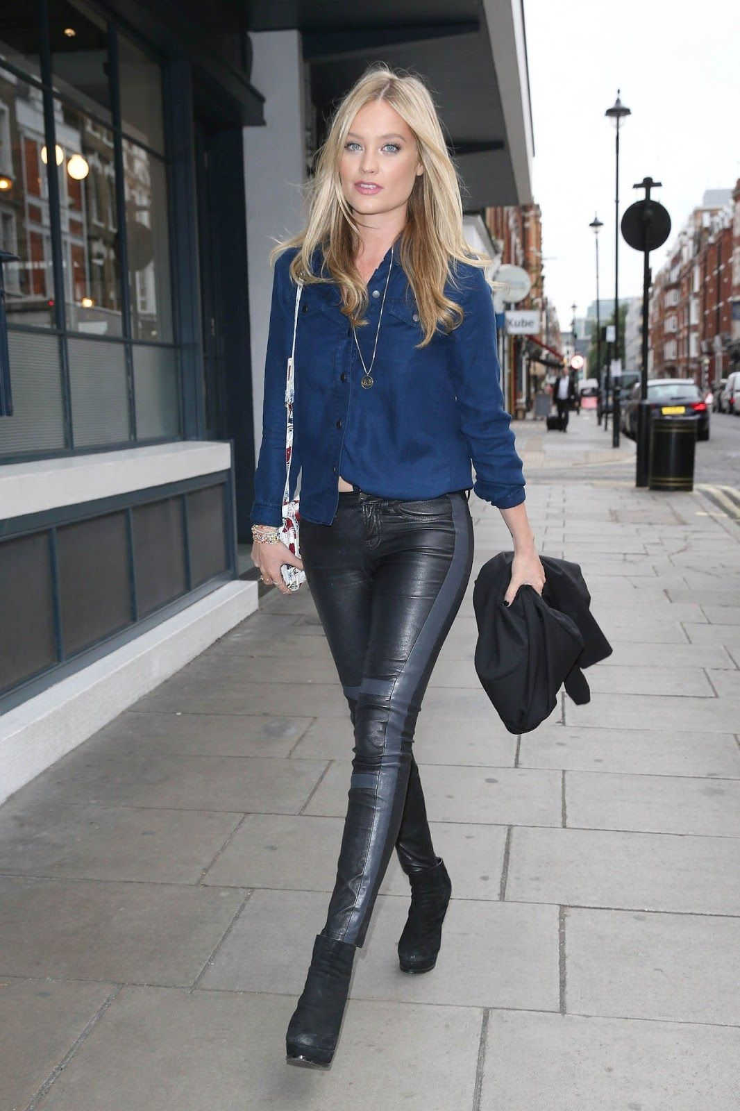 lovely ladies in leather laura whitmore in leather pants