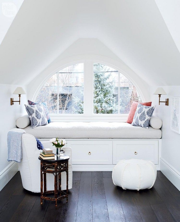 Leseecke Einrichten Schlafzimmer: Fenstersitz Zimmer Dachschräge Gemütlich Leseecke