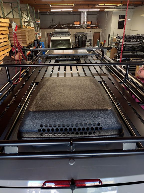 Aluminess Roof Rack Install For Mercedes Sprinter With Large A C Vent And Solar Sprinter Van Sprinter Camper Conversion Sprinter