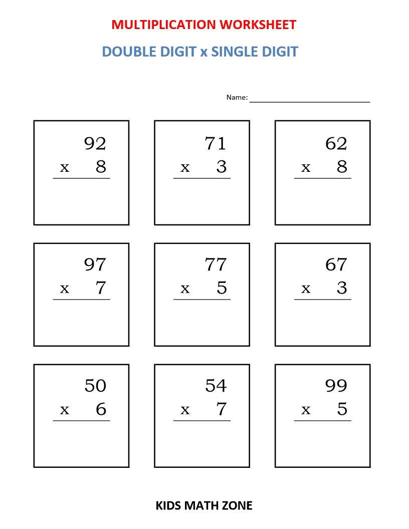 Multiplication Double Digit X Single Digit 10 Worksheets Pdf