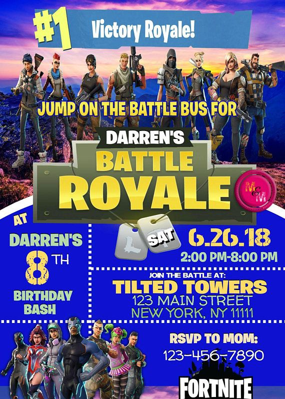 Editable Fortnite Birthday Party Invitation Printable Fortnite