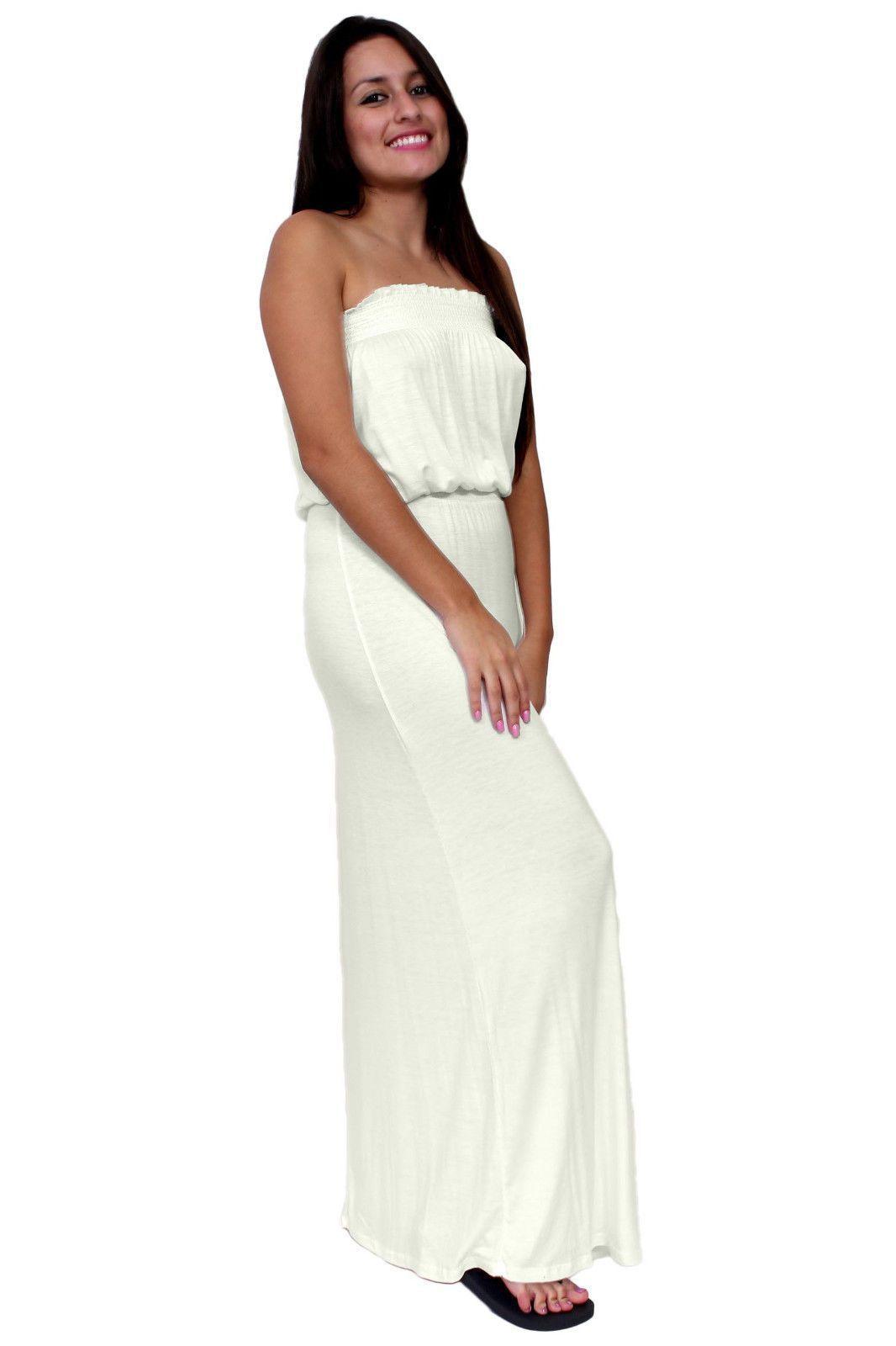 ad952e120ad Women S Casual Ruffle Trim Smocked Tube Top Ivory Maxi Dress Waistband  Stretch