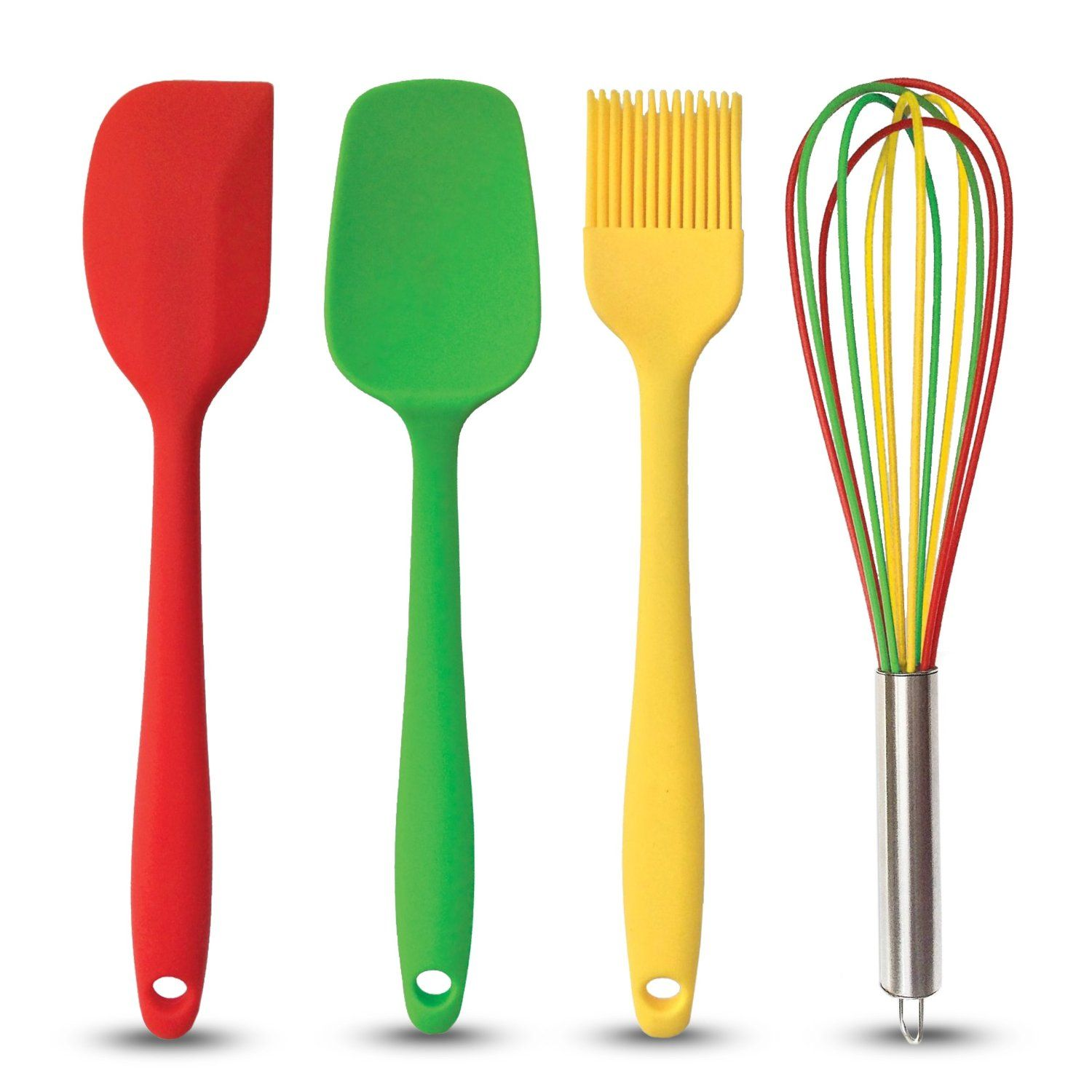Cute Kitchen Cooking Utensils Set Made Of Fba Roved Silicone Includes Red Spatula Green Spoon