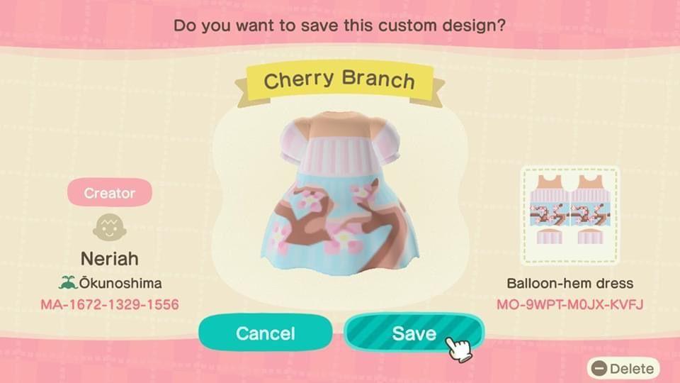 Cherry Blossom Dress Animal Crossing Animal Crossing Qr Codes Clothes Qr Codes Animal Crossing