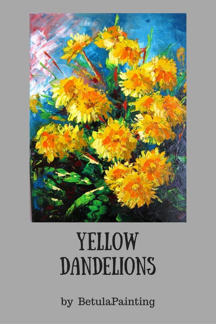 Textured painting Dandelion wall art Knife painting canvas Dandelion ...