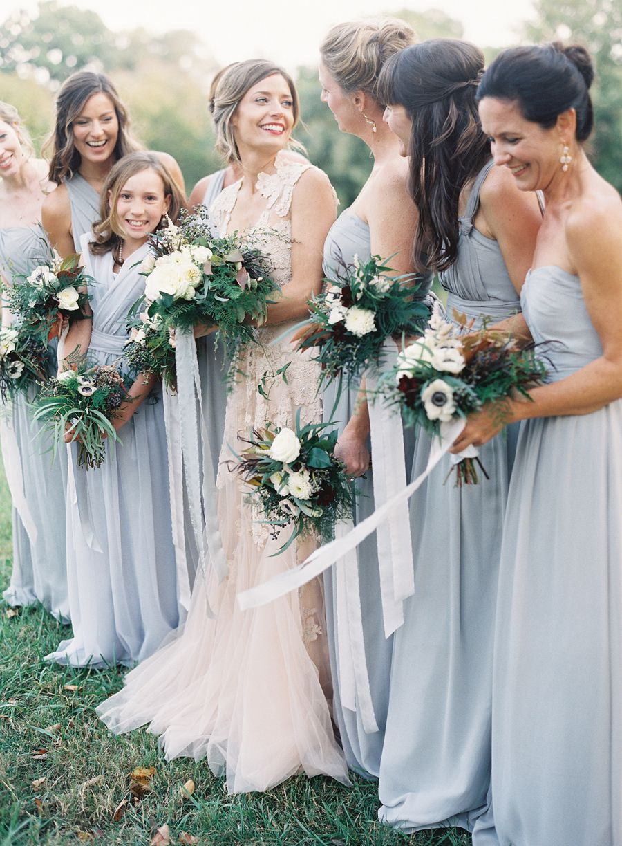 Blush Wedding Dress By Reem Acra And Bridesmaid Dresses In Pale Blue Jenny Yoo Image Jessica Lorren Photography Bouquets Sloane Event