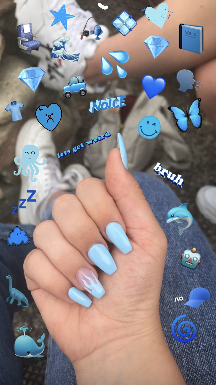 baby blue flame coffin gel acrylic nails in 2020
