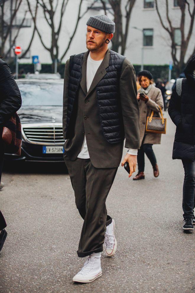 Street style à la Fashion Week homme automne-hiver 2018-2019 à Milan 1