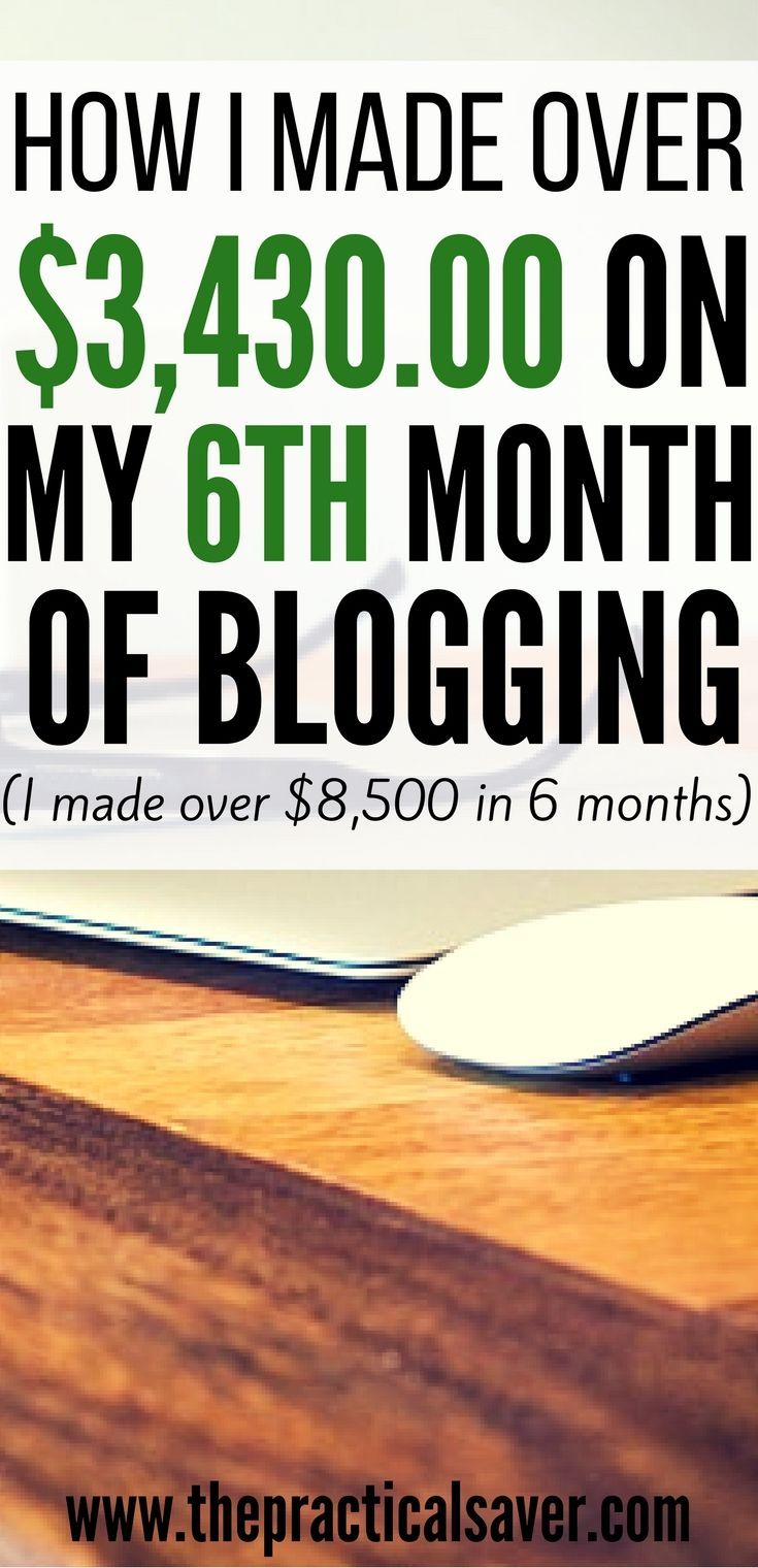 How I Made Over $3,430.00 On My 6th Month Of Blogging