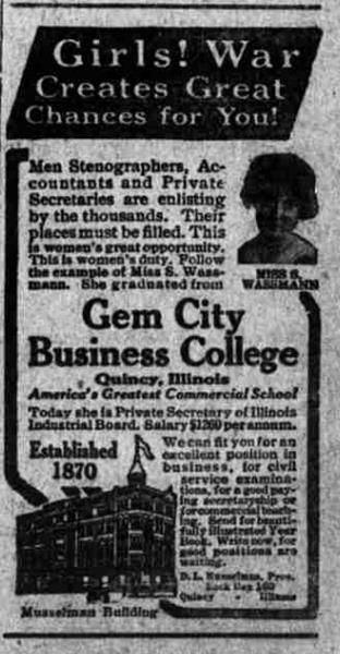 Gem City Business College Quincy Il Ad From Chariton Mo
