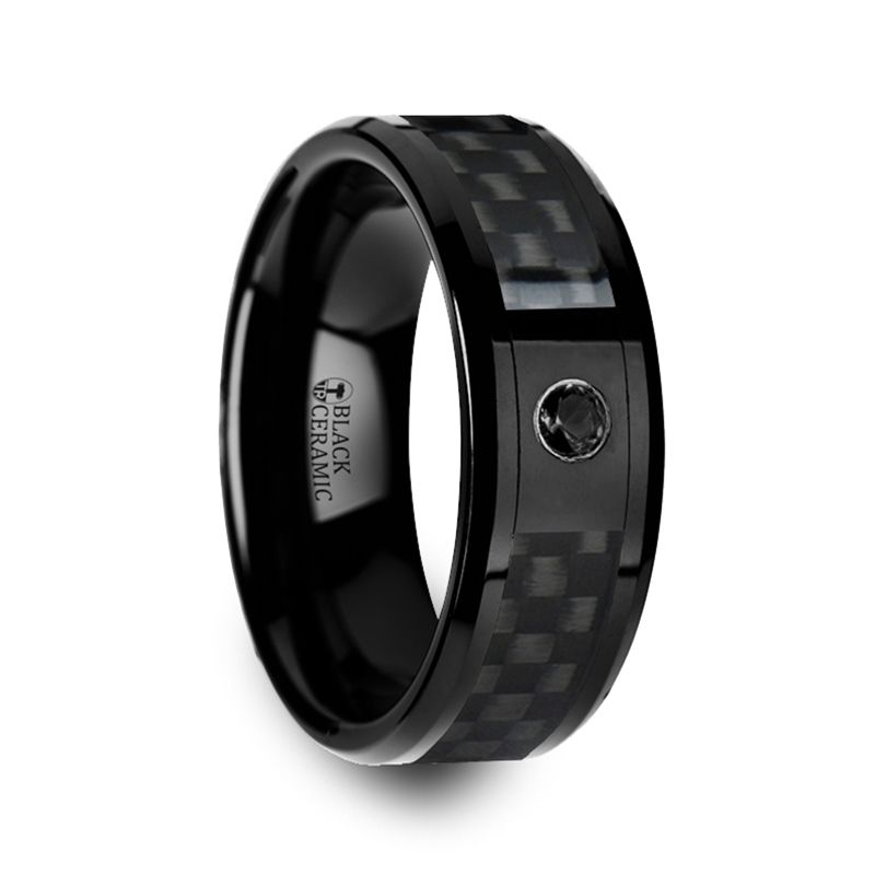 aberdeen black ceramic ring with black diamond wedding band and black carbon fiber inlay 8mm - Carbon Fiber Wedding Ring