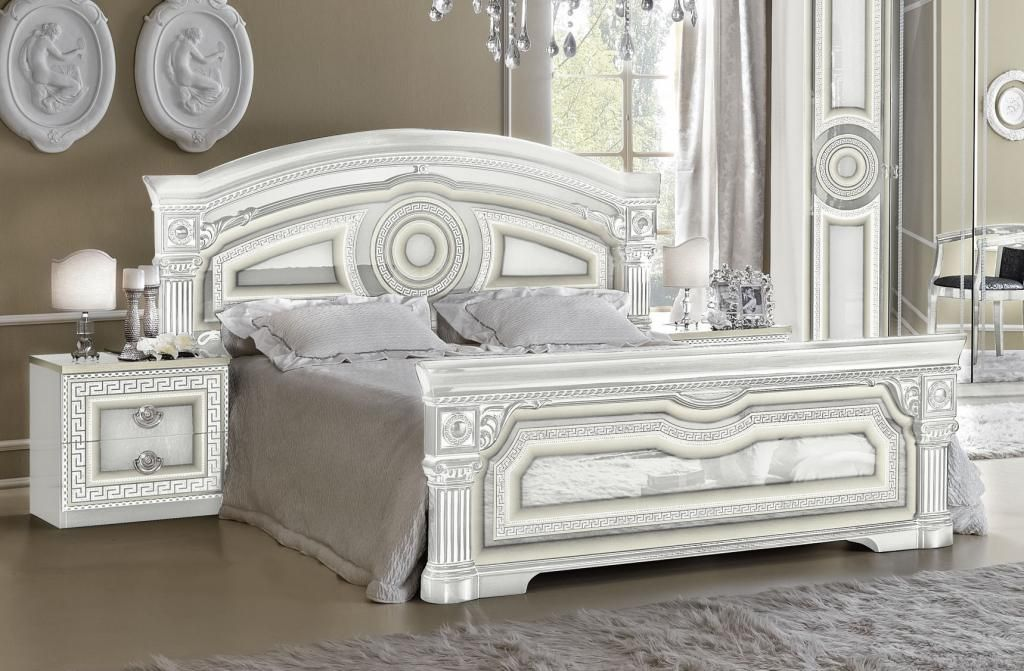 Versace Inspired White High Gloss & Silver 5ft King Bed Frame ...