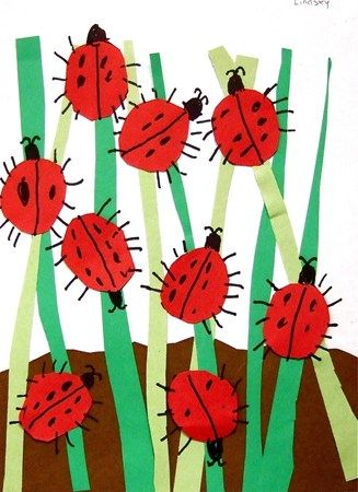 Ladybugs in the grass could be any kid of bugs would do for Craft work for class 3