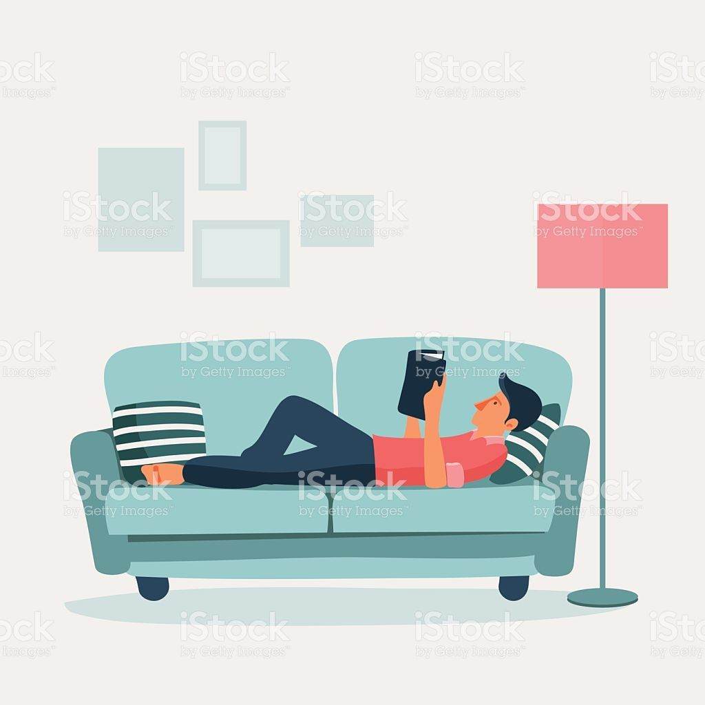 Sofa Vector Free Relaxed Young Man Reading A Book On A Sofa Vector Modern