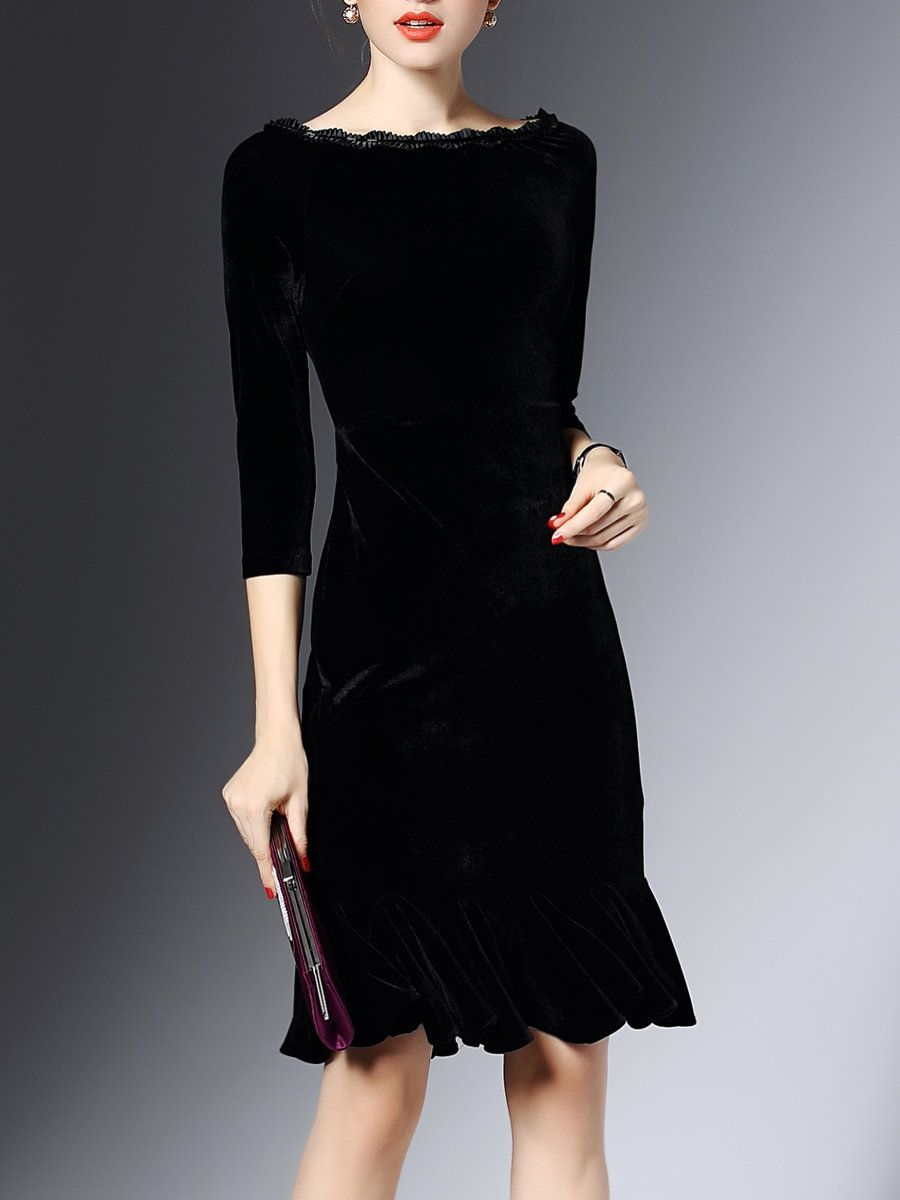 Plus Size Black 3/4 Sleeve Velvet Flounce Bateau/boat Neck Midi Dress