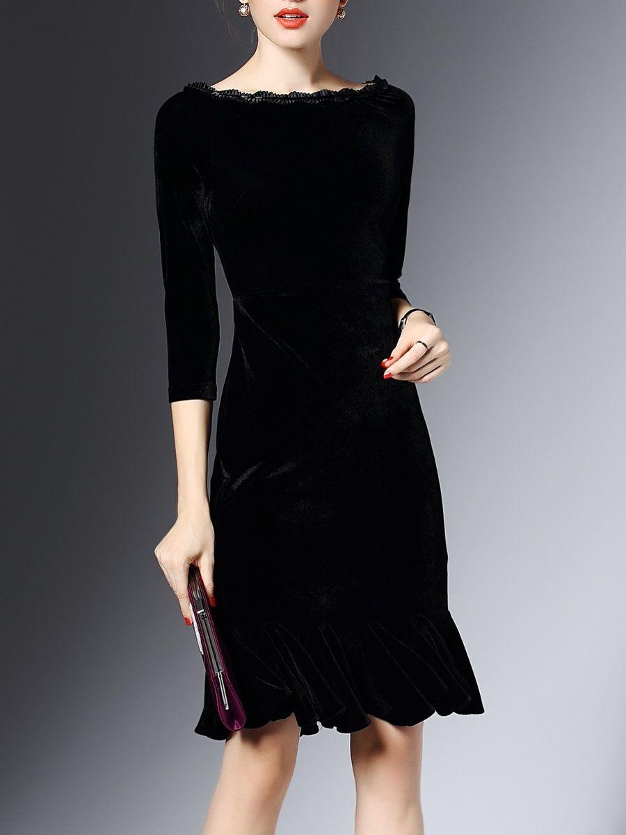 Shop Midi Dresses - Black 3/4 Sleeve Flounce Bateau/boat ...