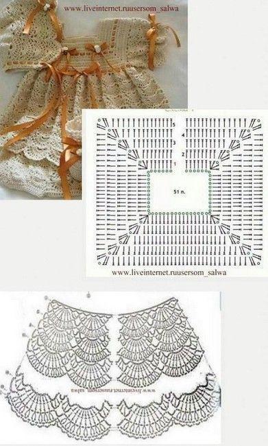 Vestidos tejidos a ganchillo para recién nacidos - Crochetisimo ...