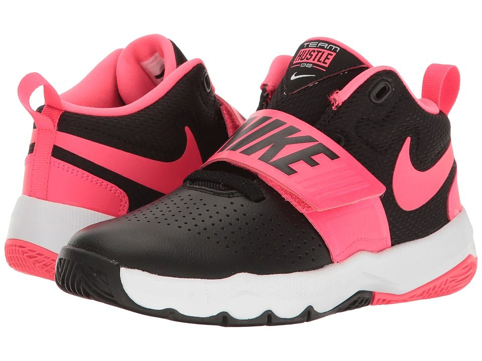 info for 2db48 81844 Nike Kids Team Hustle D8 (Little Kid) Girls Shoes Black Racer Pink White