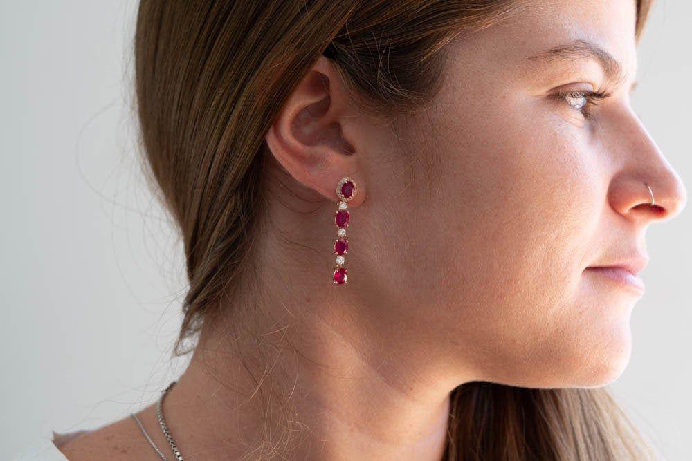 50% OFF -6.57 Carat Ruby Drop Earrings with 0.78 Carat Diamonds - Handmade Jewelry #gemstonejewelry