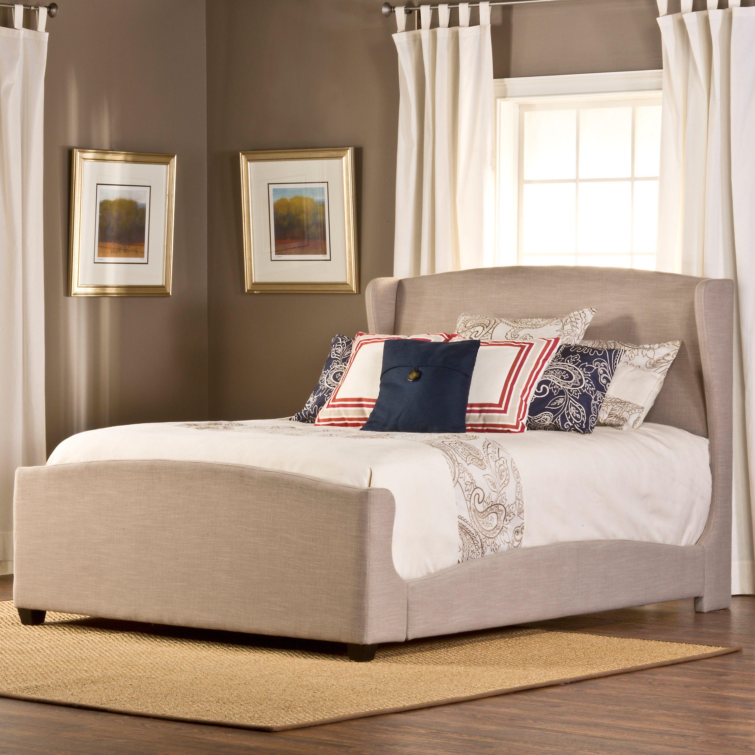 Barrington upholstered low profile bed khaki linen from hayneedle com