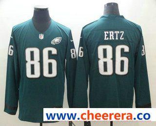 Men s Philadelphia Eagles  86 Zach Ertz Nike Green Therma Long Sleeve Limited  Jersey e279d7604bd7